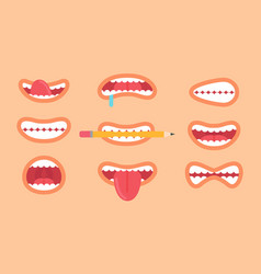 funny mouth collection on vector image