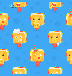 funny sandwich character seamless pattern vector image