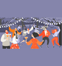 garden party with people dancing and drinking vector image