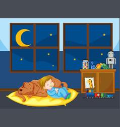 girl and pet dog sleeping vector image