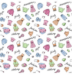 Girl clothes and lettering doodle seamless pattern vector