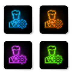 glowing neon profile settings icon isolated on vector image
