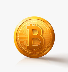 Gold bitcoin coin on white with shadow vector