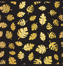 gold foil leaves seamless background black vector image