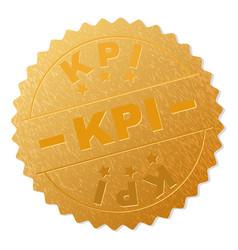 Gold kpi award stamp vector