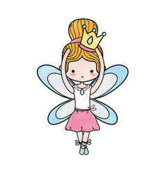 Grated girl dancing ballet with crown and wings vector