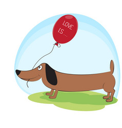Greeting card cute dog dachshund with balloon vector