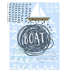 Hand drawn vintage nautical card with grunge vector