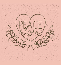 heart with wreath peace message vector image