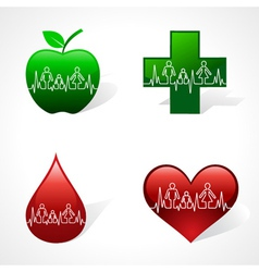 Heartbeat make family icon inside medical symbols vector image