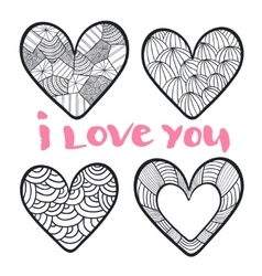 Hearts set in zentangle style vector image