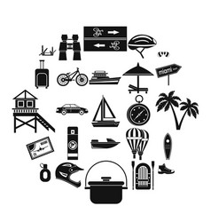 Holiday abroad icons set simple style vector