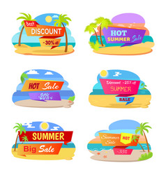 Hot summer sale promotional stickers with beach vector