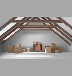House attic interior mansard room with boxes vector