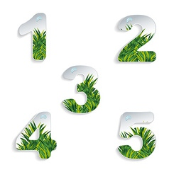 Icons 12345 numbers with grass effect vector