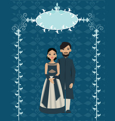 Indian couple in wedding card wedding ceremony of vector