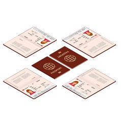 isometric blank open passport template vector image