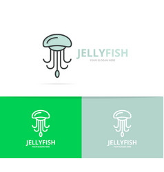 jellyfish and seafood logo design template vector image