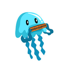 Jellyfish playing on the harmonica cute musician vector