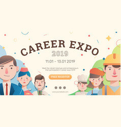 Job and career expo with avatar banner layout vector