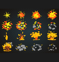 key frames of bomb cartoon explosion animation vector image