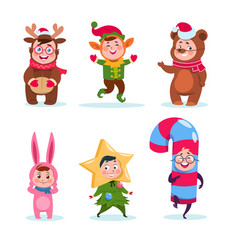 kids wearing christmas costumes cartoon happy vector image