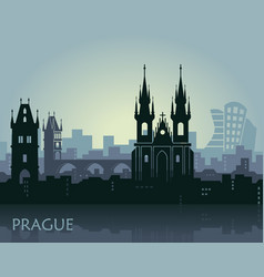 Landscape prague with sights abstract skyline vector