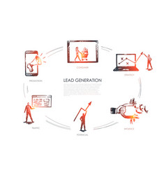 lead generation strategy infuence potencial vector image