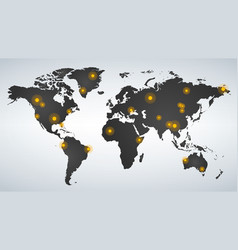 map of world dotted with yellow hot spots vector image