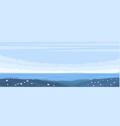 monochrome blue seascape vector image