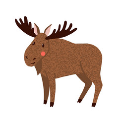moose cute hand drawn elk isolated on white vector image