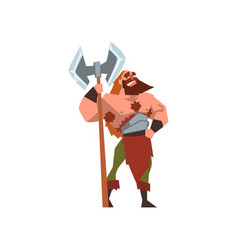 Muscular viking warrior character with huge double vector