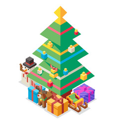 new year isometric christmas tree gift box flat vector image