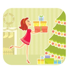 NIce girl with presents vector image