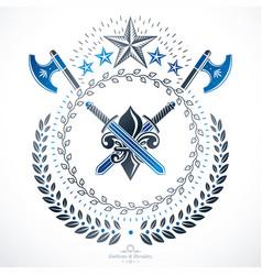 old style heraldry heraldic emblem vector image