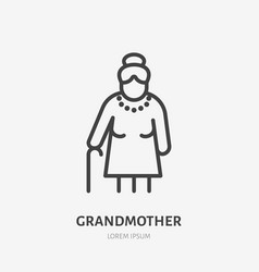old woman line icon pictograph vector image
