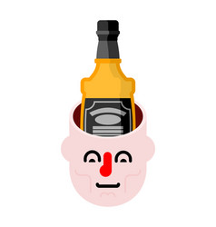 open head and bottle whiskey alcohol in head vector image