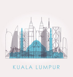 outline kuala lumpur skyline with landmarks vector image