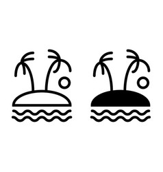 palm trees on island line and glyph icon tropical vector image