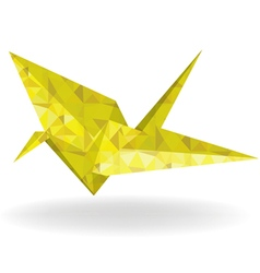 Paper gold bird and doves set in origami style vector