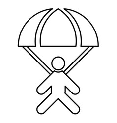 parachute jumper icon black color flat style vector image