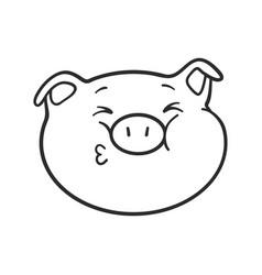 Pig is sending a kiss emoji pig for coloring book vector