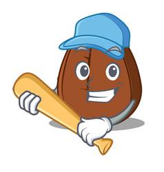 Playing baseball coffee bean character cartoon vector