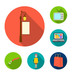 Production of advertising flat icons in set vector