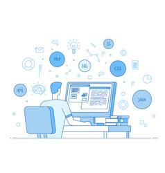 Programmer coding website coder web designer vector