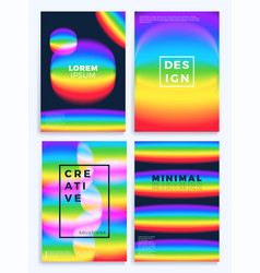 rainbow gradient waves stock four cover design vector image