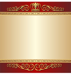 red and gold background with ornaments vector image