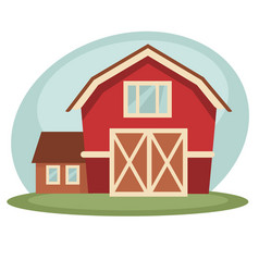 Red barn on farm vector