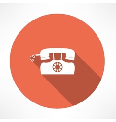Retro landline phone icon vector