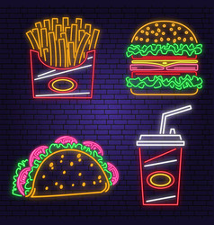 Retro neon burger cola taco and french fries vector